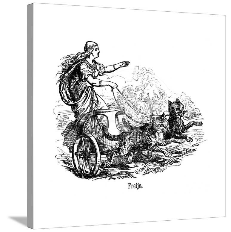 Freya Frig Goddess Of Love In Scandinavian Mythology Driving Her Chariot Pulled By Cats