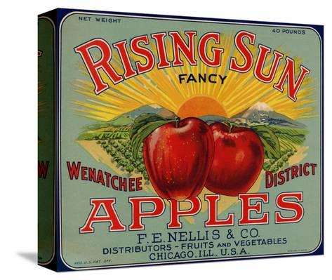 Fruit Crate Labels: Rising Sun Fancy Apples; F.E. Nellis and Company Pingotettu canvasvedos