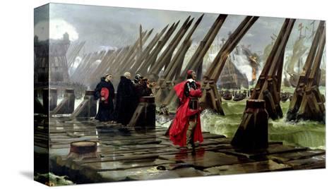 Richelieu (1585-1642) on the Sea Wall at La Rochelle, 1881 Reproducción de lámina sobre lienzo