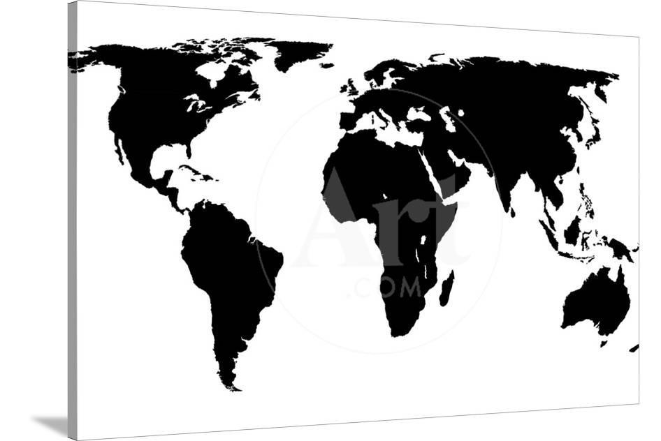 World Map - Black On White Prints by Jacques70 at AllPosters.com
