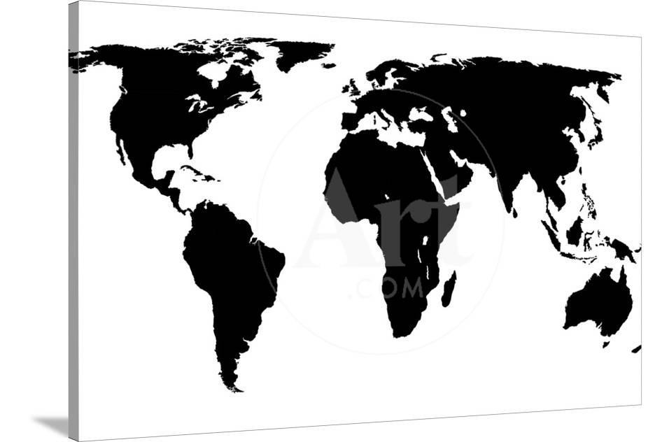World Map Black On White Prints By Jacques70 At Allposters Com
