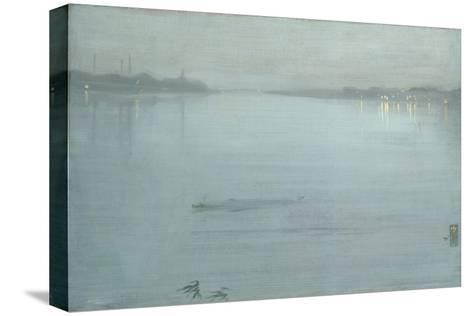 Nocturne: Blue and Silver - Cremorne Lights Kunst op gespannen canvas