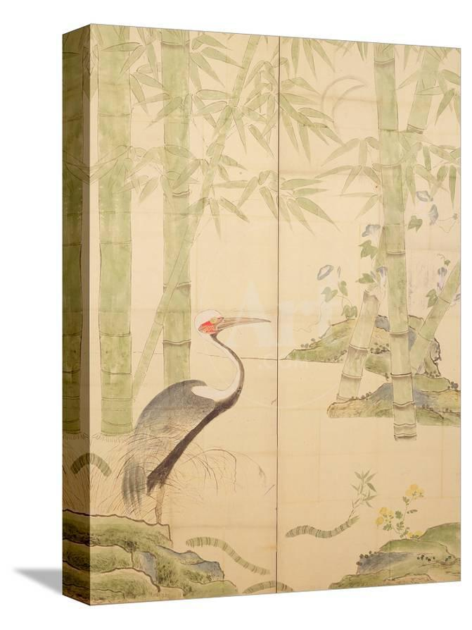 bamboo and crane edo period w c on panel giclee print by japanese