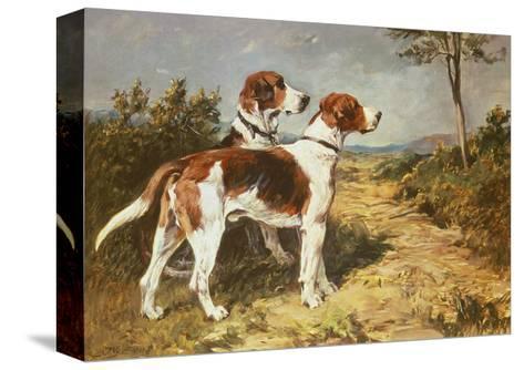 Two Hounds in a Landscape Reproducción de lámina sobre lienzo