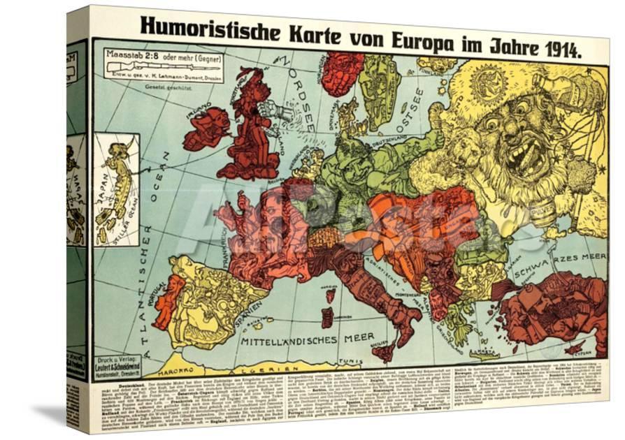 Karte Von Europa.Satirical Map Humoristische Karte Von Europa Im Jahre 1914