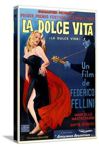 La Dolce Vita, Anita Ekberg, Argentinian Poster Art, 1960 Impressão em tela esticada