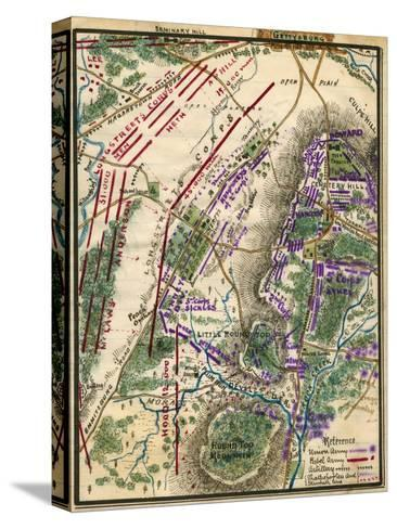 Battle of Gettysburg - Civil War Panoramic Map Stretched Canvas Print