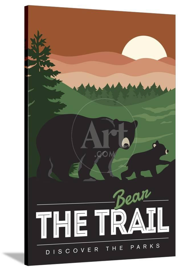 bear the trail bear family discover the parks posters by lantern