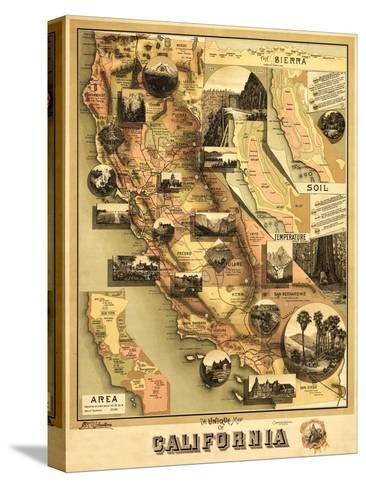 California - Panoramic Map Stretched Canvas Print