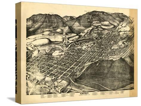 Colorado - Panoramic Map of Aspen - Aspen, CO Stretched Canvas Print