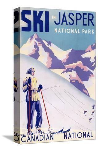 Jasper National Park, Canada - Woman Posing Open Slopes Poster Impressão em tela esticada