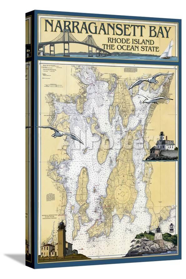 Narragansett Bay Rhode Island Nautical Chart Print By Lantern Press At Allposters