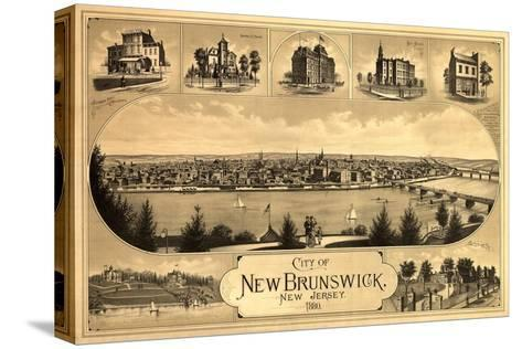 New Brunswick, New Jersey - Panoramic Map Stretched Canvas Print