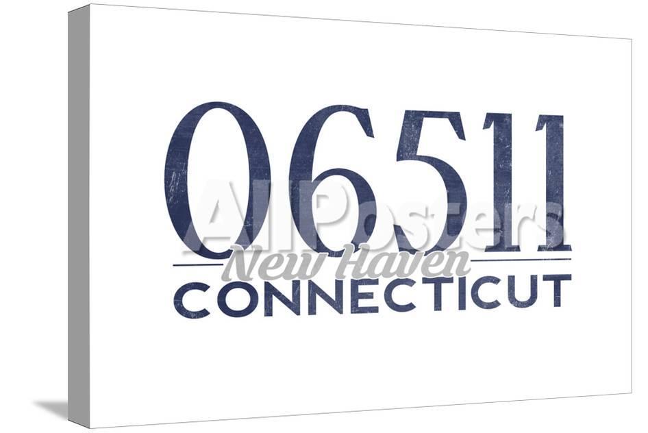New Haven Connecticut 06511 Zip Code Blue Art By Lantern Press
