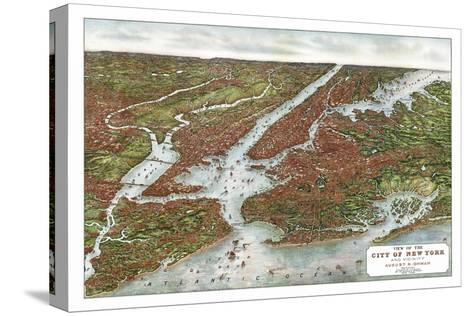 New York City, New York - Panoramic Map Stretched Canvas Print