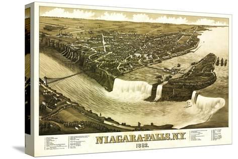Niagara Falls, New York - Panoramic Map Stretched Canvas Print