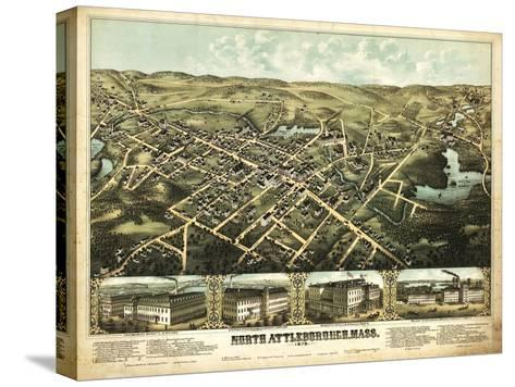 North Attleboro, Massachusetts - Panoramic Map Stretched Canvas Print