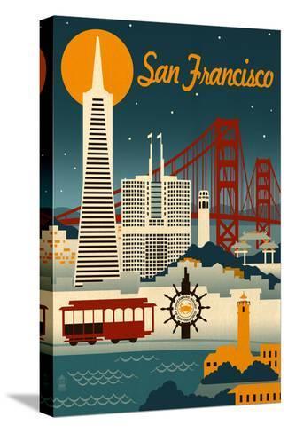 San Francisco, California - Retro Skyline Impressão em tela esticada