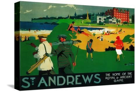 St. Andrews Vintage Poster - Europe Impressão em tela esticada