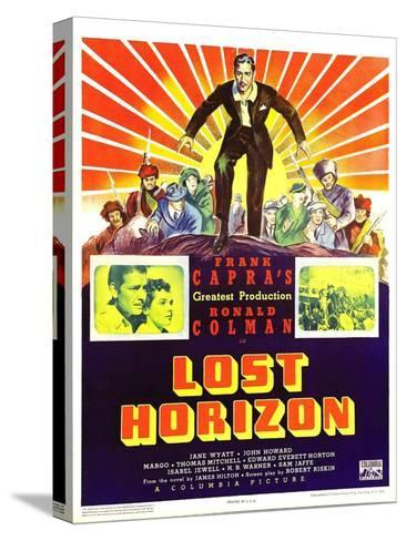 LOST HORIZON, top center: Ronald Colman, bottom left: Ronald Colman on window card, 1937. Stretched Canvas Print