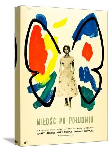 Love in the Afternoon, (AKA Milosc Po Poludniu), Polish Poster, Audrey Hepburn, 1957 Stretched Canvas Print
