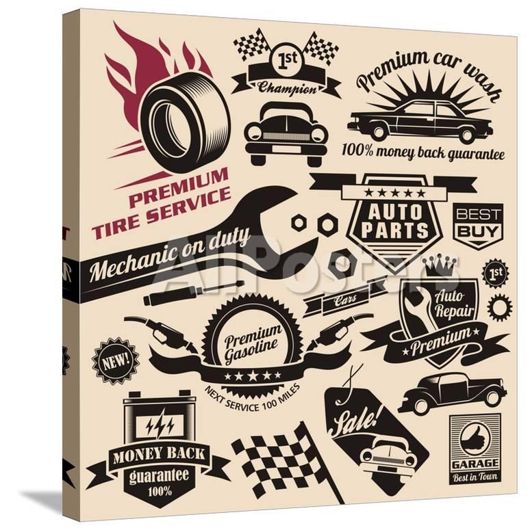 Vector Set Of Vintage Car Symbols And Logos Art By Lukeruk At