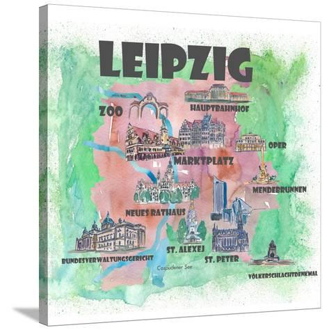 Leipzig Germany Travel Poster Favorite Map With Touristic Highlights Posters M Bleichner Allposters Com