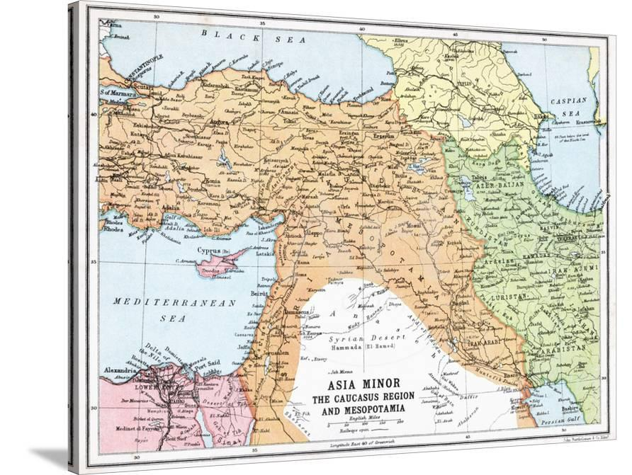 Map Of Asia Minor.Map Of Asia Minor And The Caucasus Region And Mesopotamia At The Beginning Of The First World War