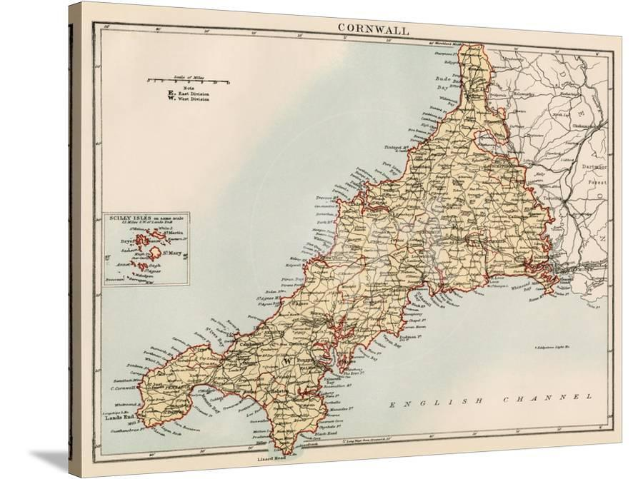 Map Of Cornwall England 1870s Stretched Canvas Print At Allposters Com