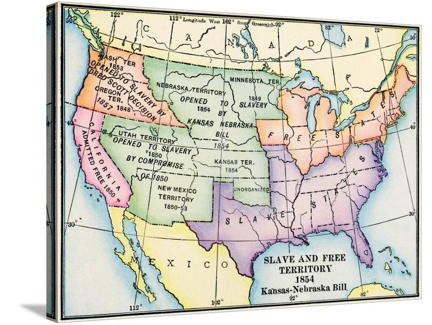 Map Of Slave And Free Areas Of The United States In 1854 At The