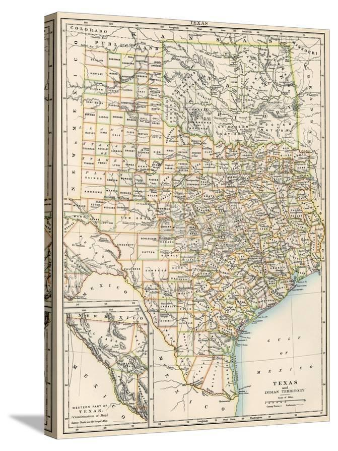 Map Of Texas And Oklahoma.Map Of Texas And Indian Territory Now Oklahoma 1870s Giclee Print