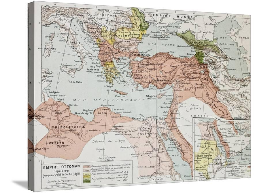 Ottoman Empire Historical Development Old Map Between 1792 And 1878