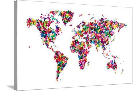 Butterflies Map of the World Stretched Canvas Print