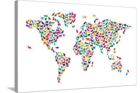 Cats map of the world map stretched canvas print by michael tompsett cats map of the world map gumiabroncs Image collections