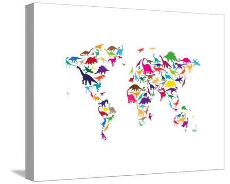 Dinosaur map of the world map stretched canvas print by michael dinosaur map of the world map gumiabroncs Gallery