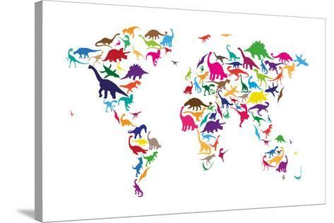 Dinosaur map of the world map stretched canvas print by michael dinosaur map of the world map gumiabroncs Image collections