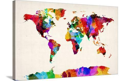 Map of the World Map Abstract Painting Stretched Canvas Print