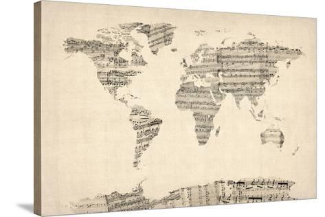 Map of the world map from old sheet music stretched canvas print by map of the world map from old sheet music gumiabroncs Image collections