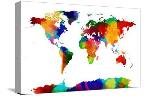 Map of the world map stretched canvas print by michael tompsett at map of the world map gumiabroncs Image collections