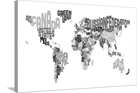 Monotone text map of the world stretched canvas print by michael monotone text map of the world gumiabroncs Image collections
