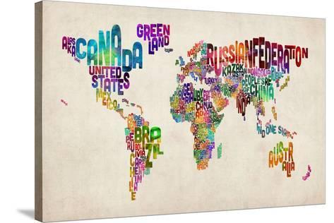 Typographic Text World Map Stretched Canvas Print