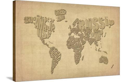Typography map of the world map stretched canvas print by michael typography map of the world map gumiabroncs Image collections