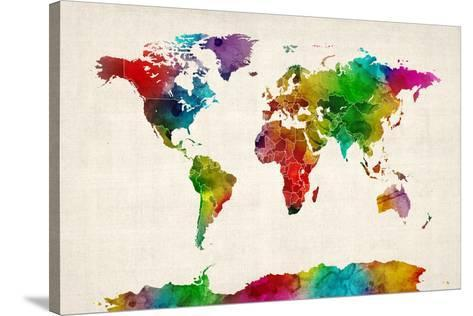 Watercolor Map of the World Map Stretched Canvas Print