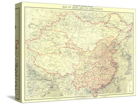 1912 China and Its Territories Map Pingotettu canvasvedos