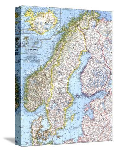 1963 Pohjoismaiden kartta Pingotettu canvasvedos