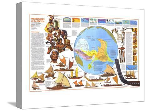 1974 Discoverers of the Pacific Map Pingotettu canvasvedos