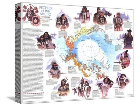 1983 Peoples of the Arctic Map Pingotettu canvasvedos