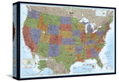 United States Political Map, Decorator Style Pingotettu canvasvedos