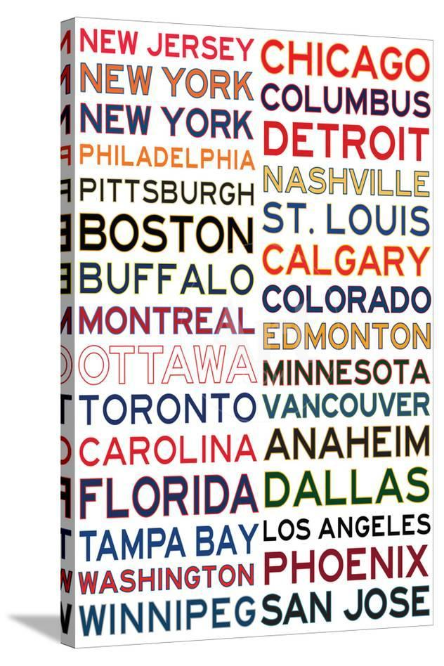 National Hockey League Cities On White Posters At Allposters Com