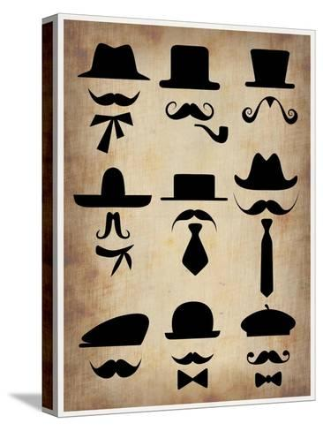 Hats Glasses and Mustaches Stretched Canvas Print